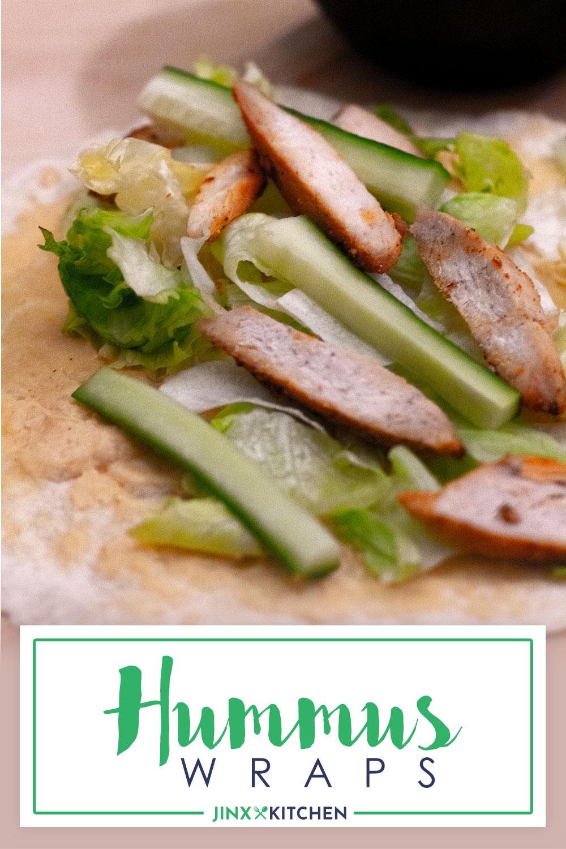 Pinterest Bild für Hummus Hähnchen Wraps