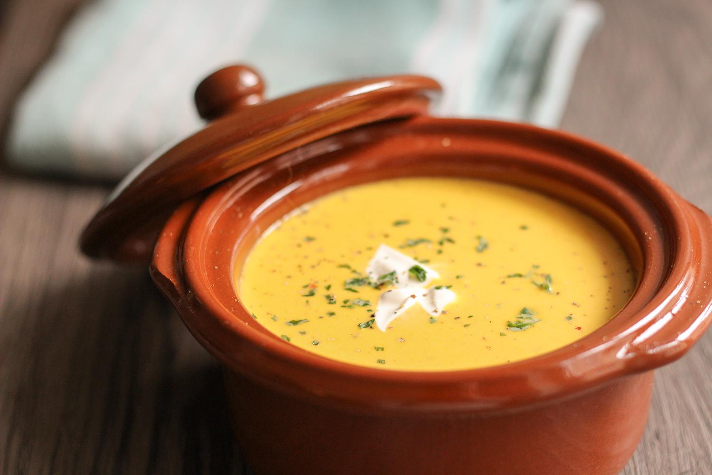 Hokkaido Kürbis-Suppe Großaufnahme