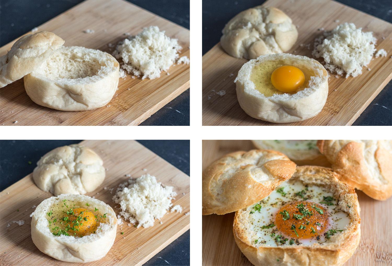 Zubereitung Schritte Ei im Brötchen