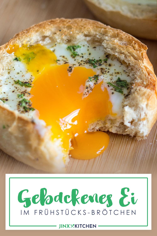 Gebackenes Ei im Frühstücks-Brötchen Pinterest