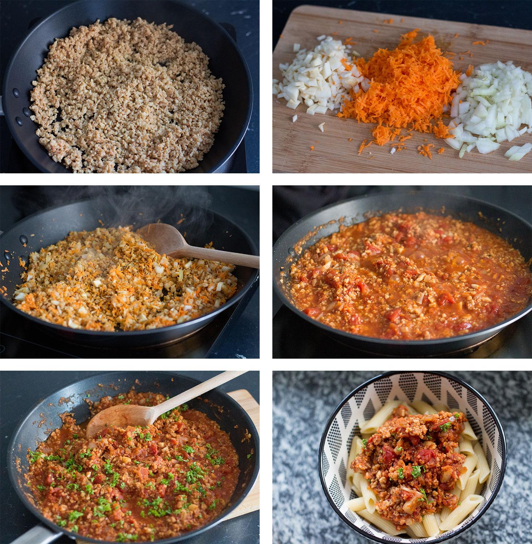Zubereitung Schritte Vegane Bolognese mit Soja Schnetzel