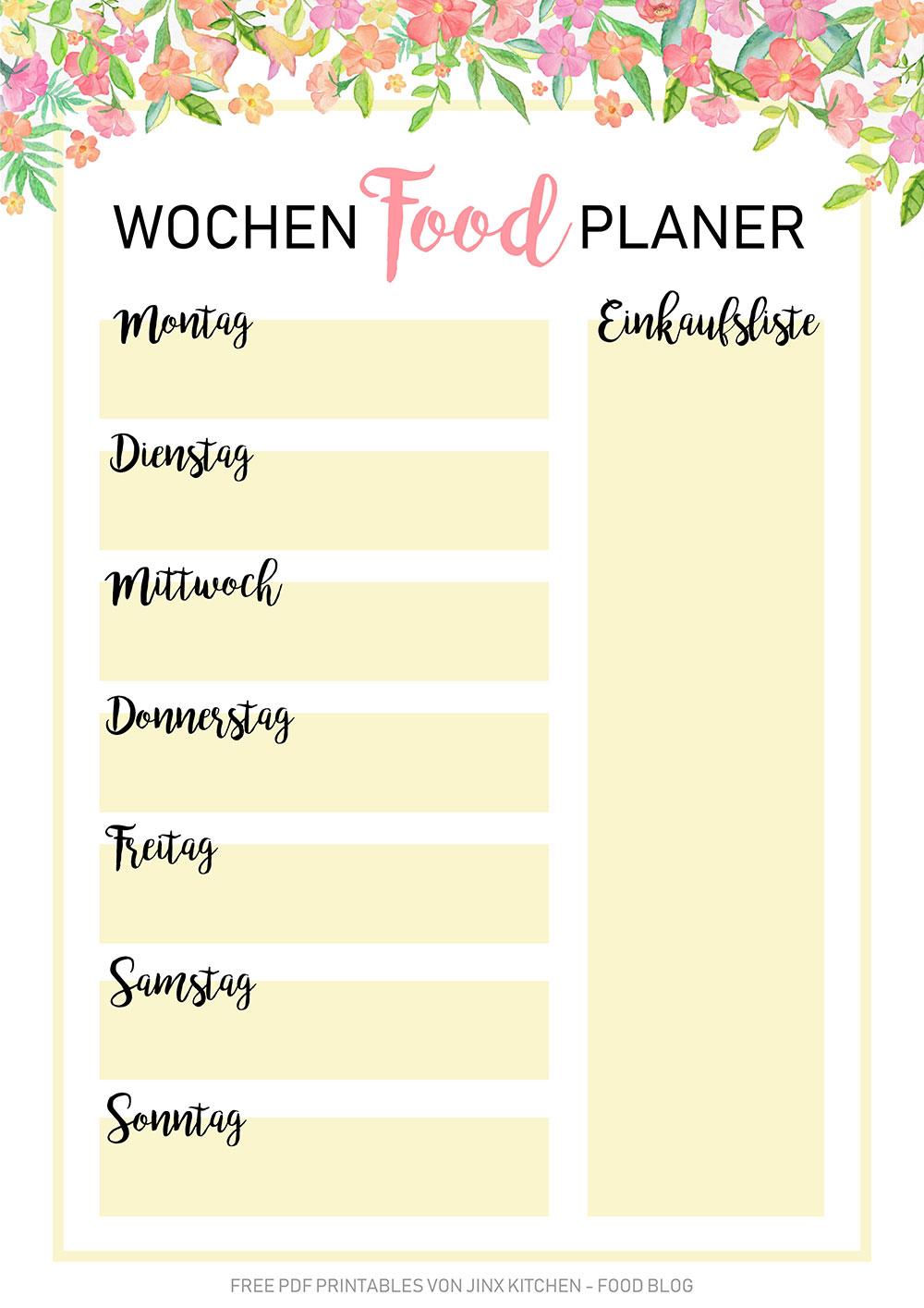 Kostenlos PDF Printable Meal Planner Floral
