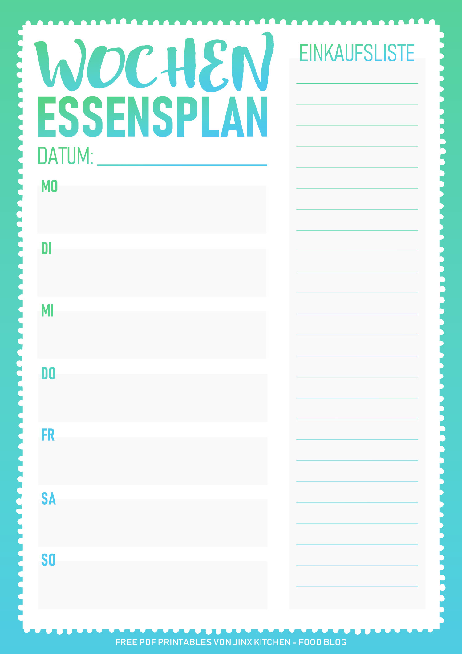 Kostenlos PDF Printable Meal Planner Essensplan Gradient