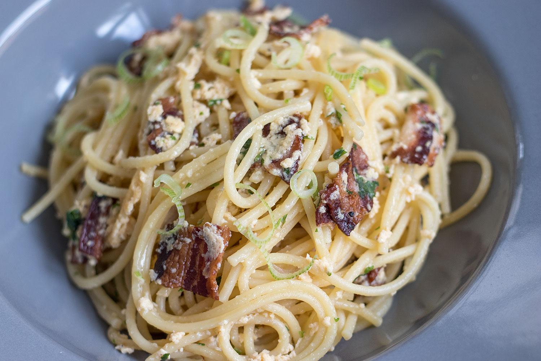 Spaghetti Carbonara im Pasta-Teller