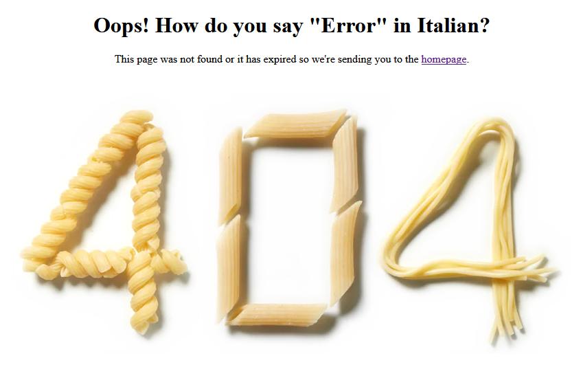Olive Garden 404 Fehler