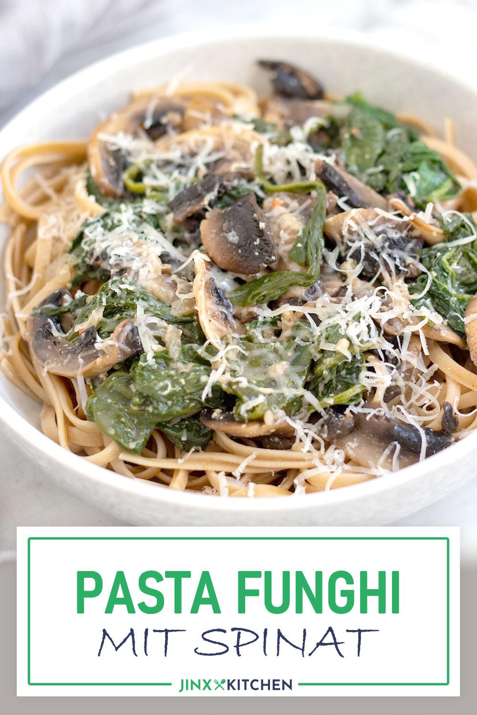 Pasta Funghi mit Spinat Pinterest