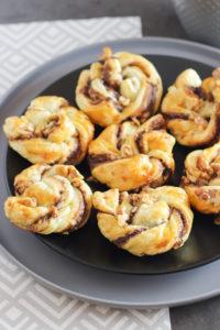 Nutella Blätterteig Walnuss Schnecken